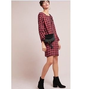 anthropologie • plaid flutter sleeve tunic dress